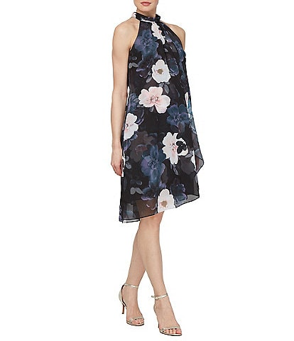 Ignite Evenings Halter Neck Floral Printed Chiffon Trapeze Dress