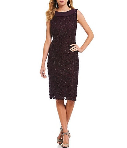 Ignite Evenings Lace Sleeveless Cowl Neck Sheath Dress