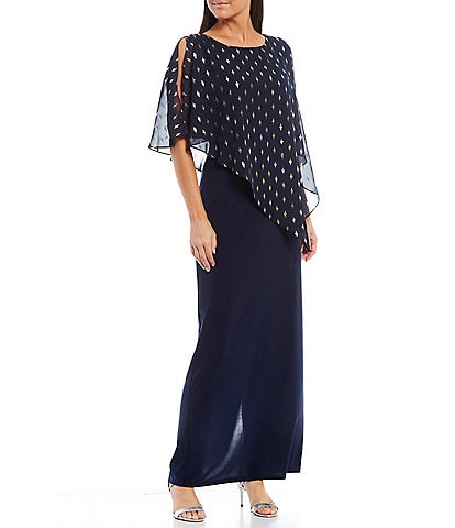 Ignite Evenings Metallic Polka Dot Asymmetric Cape Column Gown