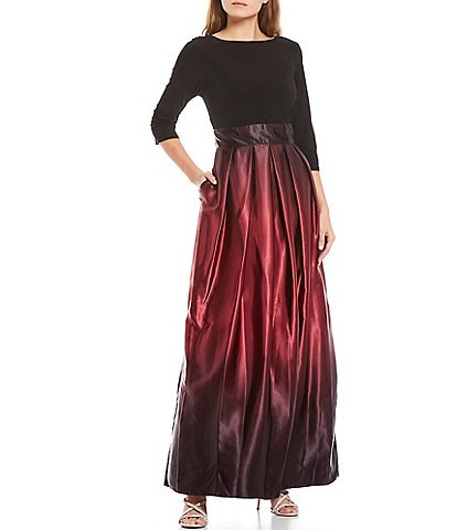 Ignite Evenings Ombre Satin 3/4 Sleeve Ball Gown