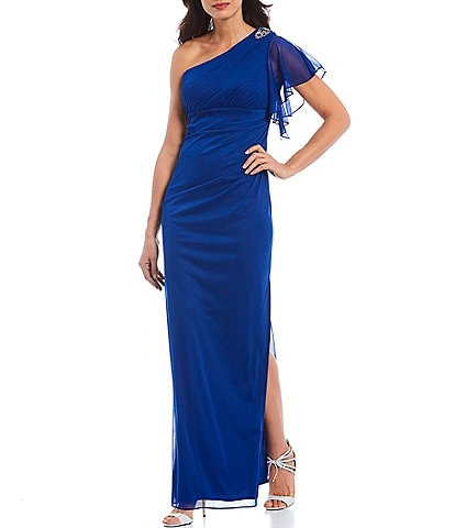 Ignite Evenings One Shoulder Embellished Shoulder Long Gown