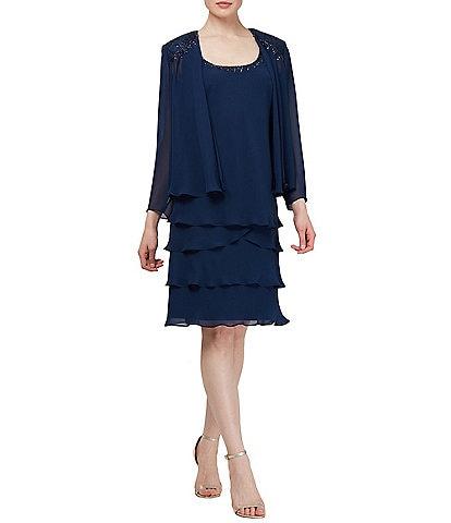Ignite Evenings Petite Size 2-Piece Embellished Tiered Jacket Dress