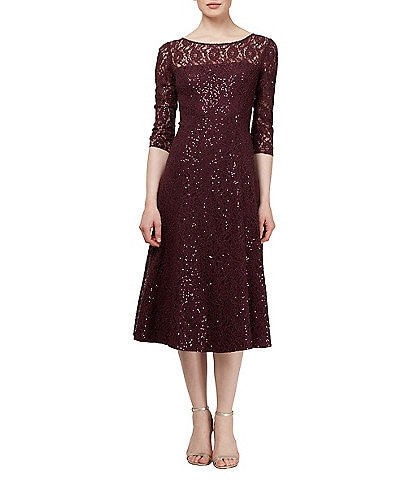 Ignite Evenings Petite Size 3/4 Sleeve Tea Length Sequin Lace Dress
