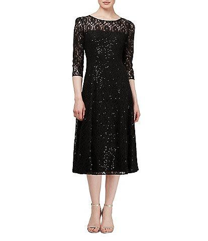Ignite Evenings Petite Size Round Neck 3/4 Sleeve Tea Length Sequin Lace Dress