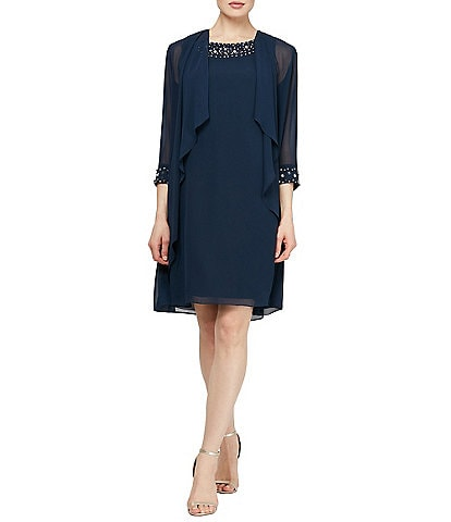 Ignite Evenings Petite Size Beaded Neckline Tiered Jacket Dress