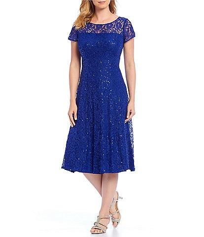 Ignite Evenings Petite Size Cap Sleeve Sequin Lace A-Line Midi Dress