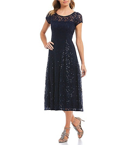 Ignite Evenings Petite Size Cap Sleeve Sequin Lace A-Line Midi Dress