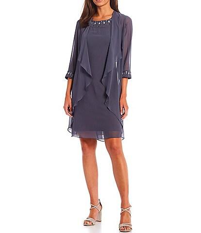 Ignite Evenings Petite Size Embellished Jewel Neck 3/4 Sleeve Chiffon 2-Piece Jacket Dress