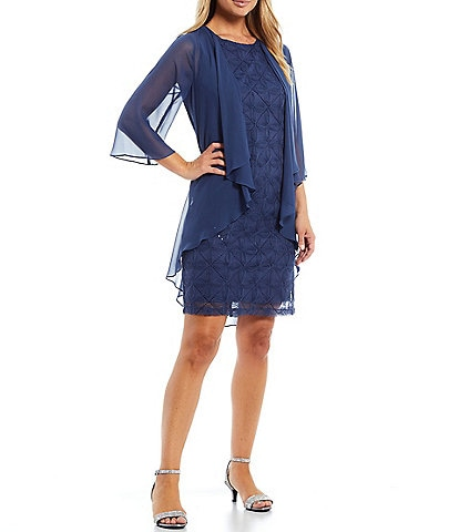 Ignite Evenings Petite Size Embroidered Illusion Neck 2-Piece Jacket Dress