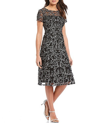 Ignite Evenings Petite Size Embroidered Soutache Lace Illusion Round Neck Short Sleeve Midi Dress