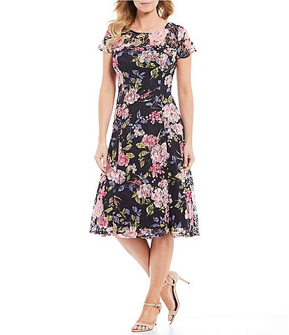 Ignite Evenings Petite Size Floral Lace Short Sleeve Midi Dress