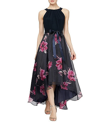 Ignite Evenings Petite Size Floral Printed Organza Hi-Low Sleeveless Midi Dress