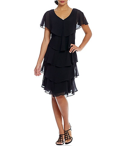 c68bbcdeeb6 Ignite Evenings Petite Size Georgette V-Neck Tiered Capelet Dress