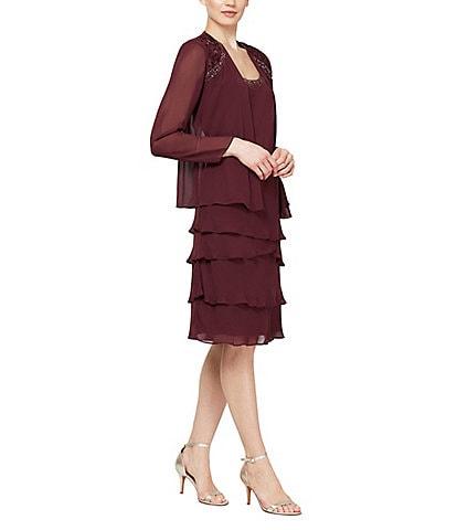 Ignite Evenings Petite Size Lace-Shoulder Chiffon 3/4 Sleeve Scoop Neck Jacket Dress