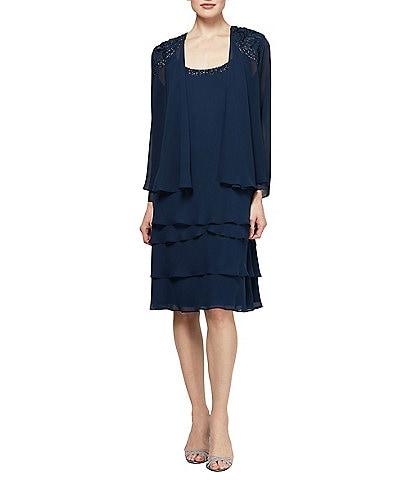 Ignite Evenings Petite Size Lace-Shoulder Chiffon Jacket Dress