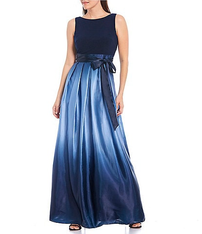 Ignite Evenings Petite Size Ombre Satin Bow Sleeveless Gown