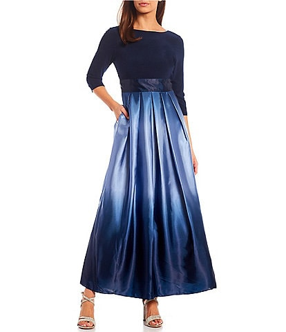 Ignite Evenings Petite Size Boat Neck 3/4 Sleeve Belted Bow Detail Ombre Satin Ball Gown
