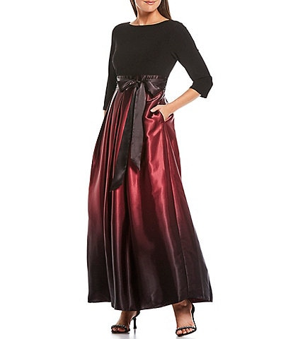 Ignite Evenings Petite Size Round Neck 3/4 Sleeve Belted Bow Detail Ombre Satin Ball Gown