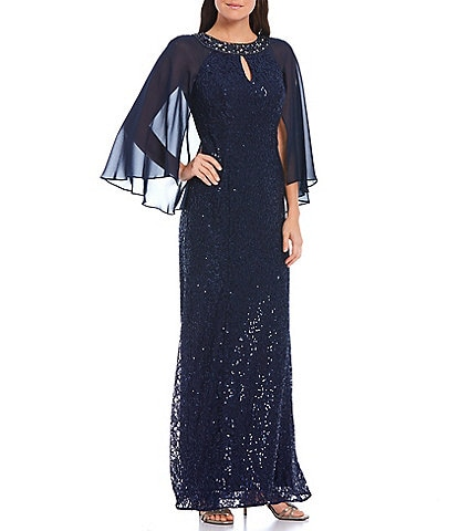 Ignite Evenings Petite Size Sequin Lace Chiffon Capelet Gown