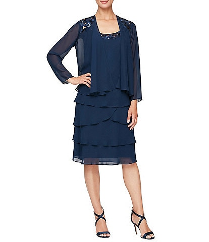 Ignite Evenings Petite Size Sequin Trim Scoop Neck Long Sleeve Tiered Jacket Dress
