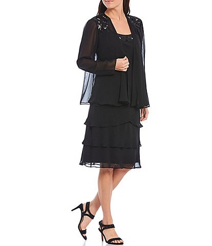 Ignite Evenings Petite Size Sequin Trim Tiered Jacket Dress