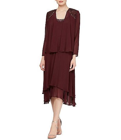 Ignite Evenings Petite Size Sequined Shoulder Midi Length 2-Piece Jacket Dress