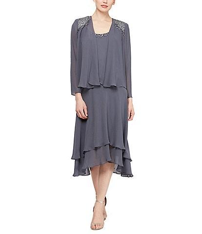Ignite Evenings Petite Size Scoop Neck Long Sleeve Sequined Shoulder Midi Length 2-Piece Jacket Dress