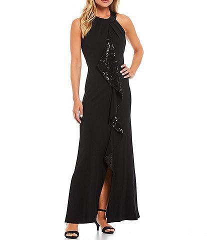 Ignite Evenings Petite Size Stretch Crepe Sequin Cascade Ruffle Halter Neck Sleeveless Sheath Gown