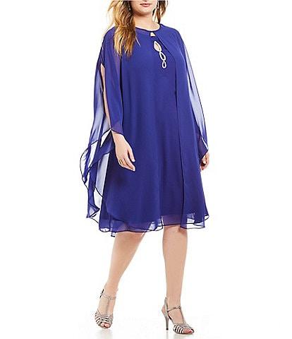 Ignite Evenings Plus Beaded Keyhole Neck 2-Piece Capelet Dress