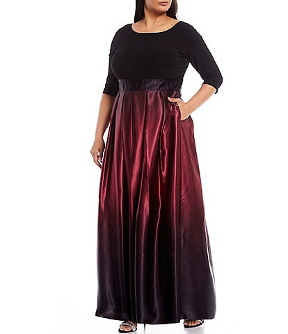 Ignite Evenings Plus Size 3/4 Sleeve Ribbon Belted Detail Ombre Satin Ball Gown