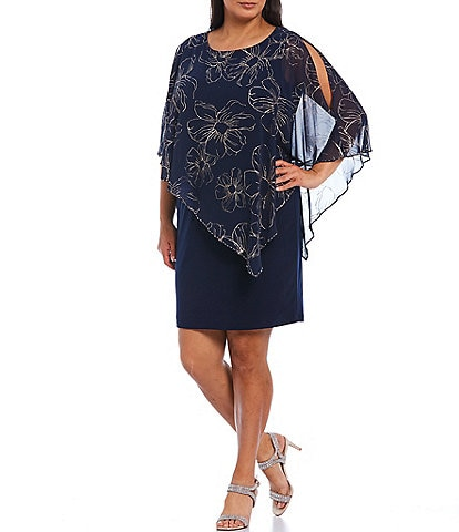 Ignite Evenings Plus Size Asymmetric Chiffon Floral Print Overlay Beaded Trim Sheath Dress