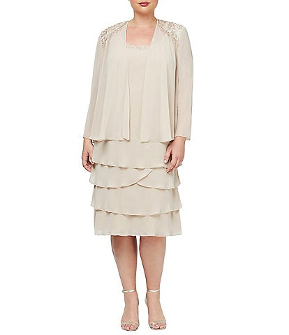 Ignite Evenings Plus Size Beaded Lace Shoulder Chiffon 2-Piece Jacket Dress