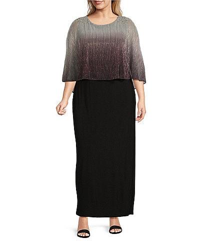 Ignite Evenings Plus Size Beaded Ombre Popover Round Neck Sleeveless Dress