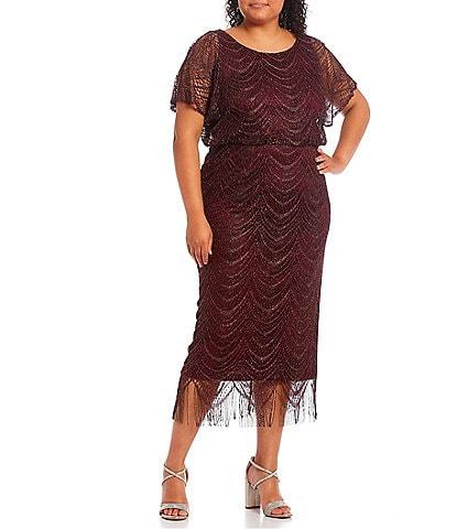 Ignite Evenings Plus Size Round Neck Short Sleeve Beaded Scallop Fringe Blouson Midi Dress