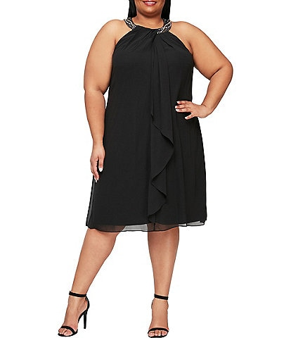 Ignite Evenings Plus Size Braid Bead Neck Chiffon Dress