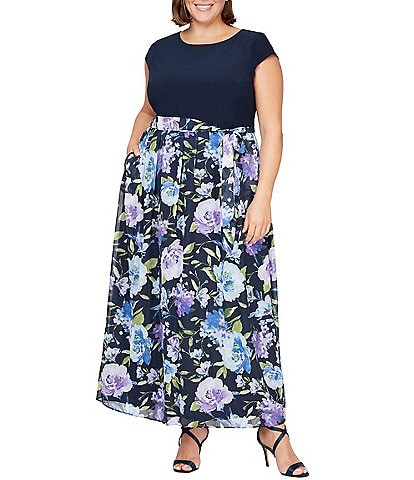 Ignite Evenings Plus Size Cap Sleeve Floral Maxi Dress