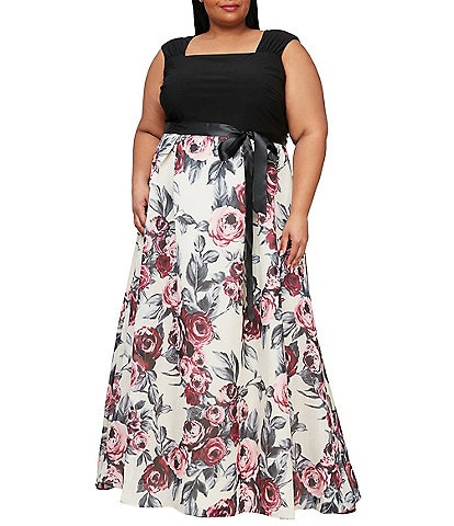 Ignite Evenings Plus Size Cap Sleeve Long Floral Belted Ballgown