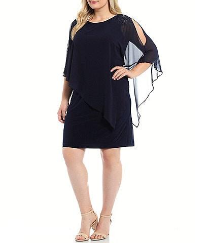 Ignite Evenings Plus Size Round Neck Short Sleeve Chiffon Asymmetric Overlay Beaded Shoulder Sheath Dress