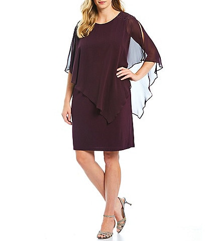Ignite Evenings Plus Size Chiffon Asymmetric Overlay Beaded Shoulder Sheath Dress