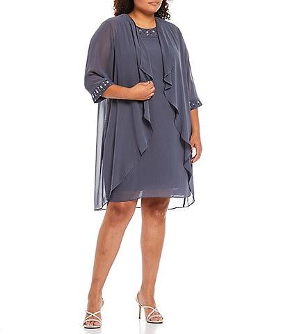 Ignite Evenings Plus Size Jewel Neck 3/4 Sleeve Embellished Chiffon 2-Piece Jacket Dress