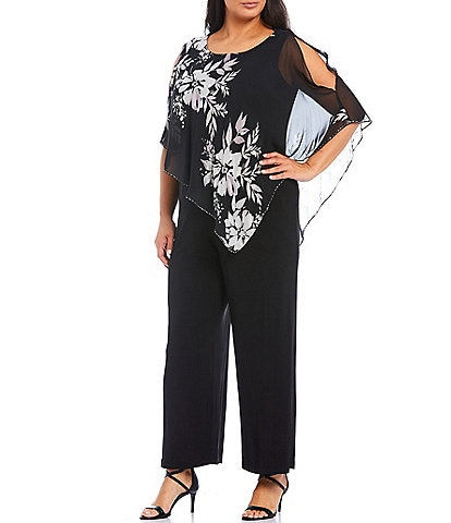 Ignite Evenings Plus Size Floral Chiffon Asymmetric Cape Jumpsuit