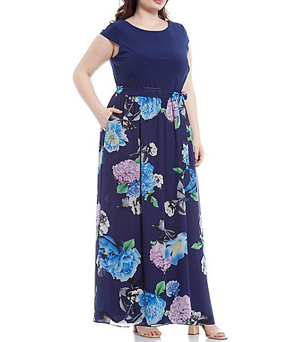 Ignite Evenings Plus Size Floral Chiffon Cap Sleeve Maxi Dress
