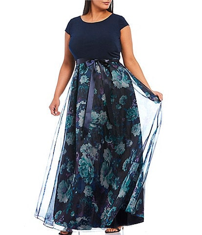 Ignite Evenings Plus Size Cap Sleeve Floral Organza Ball Gown