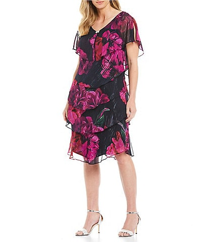 Ignite Evenings Plus Size Floral Print Ruffle Tiered Capelet Dress