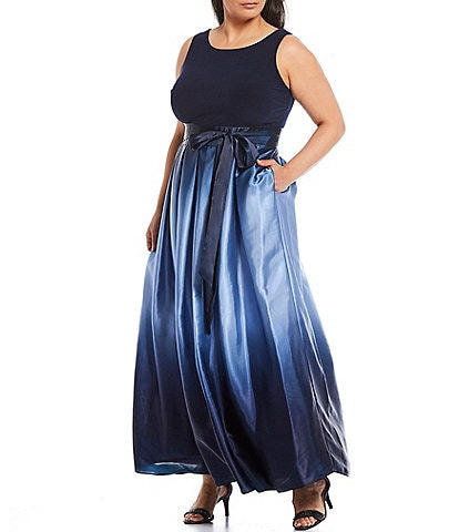Ignite Evenings Plus Size Ombre Satin Tie Waist Sleeveless Long Party Dress