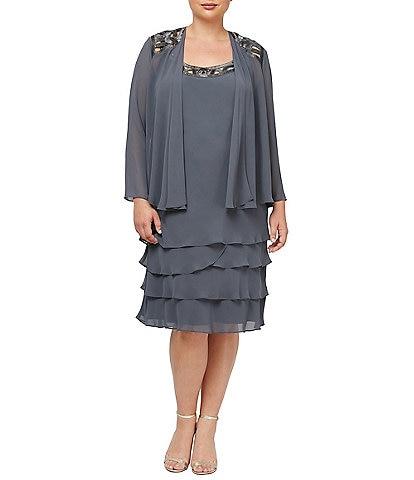 Ignite Evenings Plus Size Scoop Neck Long Sleeve Sequin Trim Tiered 2-Piece Jacket Dress