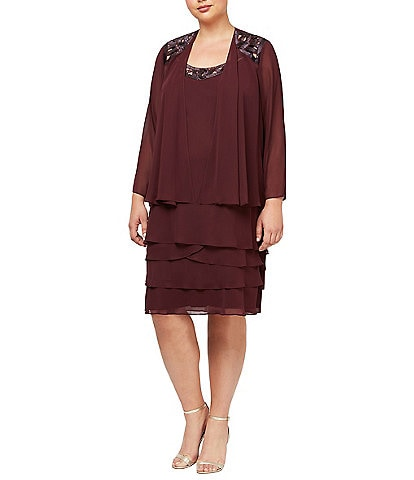 Ignite Evenings Plus Size Sequin Trim Tiered Jacket Dress