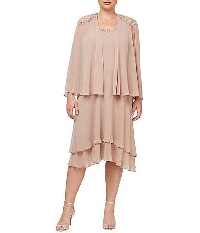 Ignite Evenings Plus Size Sequined Shoulder Midi Length Tiered Hem Jacket Dress
