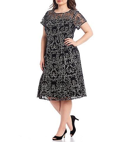 Ignite Evenings Plus Size Short Sleeve Embroidered Soutache Lace Illusion Midi Dress