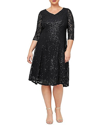 Ignite Evenings Plus Size V-Neck 3/4 Sleeve Sequin Lace Dress